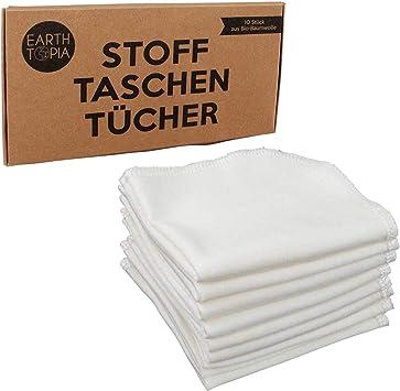 Earthtopia 10 pañuelos de tela de algodón orgánico, pequeños, blancos y discretos, aspecto similar a los pañuelos de papel: Amazon.es: Salud y cuidado personal