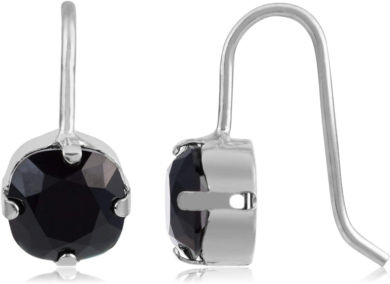 Córdoba Jewels | Pendientes en plata de ley 925 con cristales by Swarovski con diseño Circle Onix Swarovski Silver