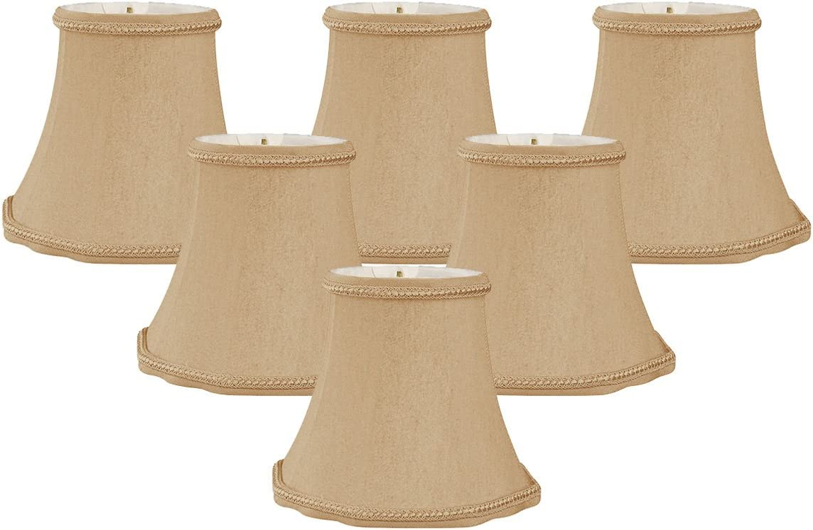 Royal Designs 5 Decorative Trim Scallop Bell Chandelier Lamp Shade, Set of 6, 3 x 5 x 4.5 CS-701AGL-6