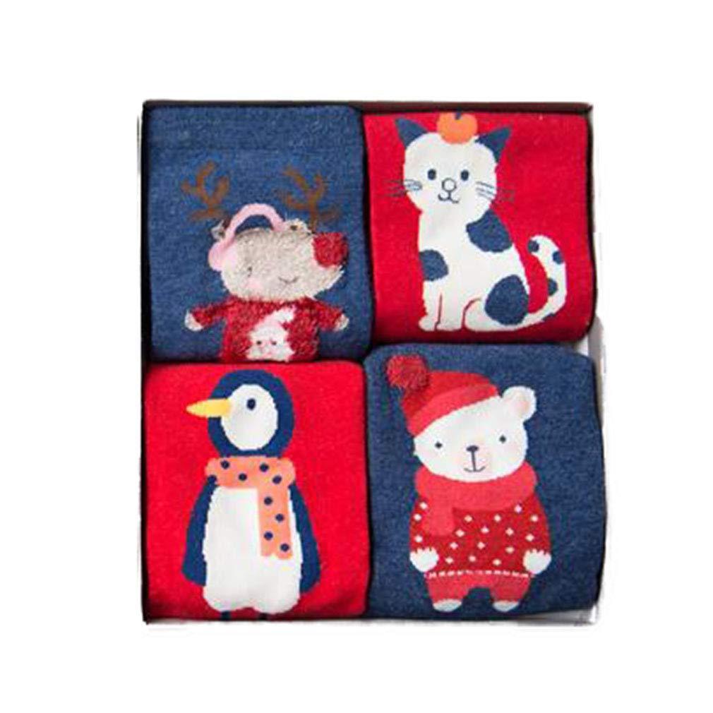 Fangcheng 4 Paire/Lot De Noël Chaussettes Nouvel An Cadeau Automne Hiver Enfants Garçons Filles Rouge Mignon De Bande Dessinée Animal Coton Chaussettes Droite Chaussette