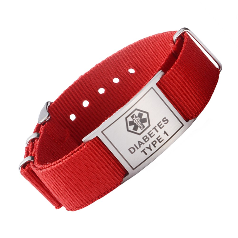 Tarring Sport Red Canvas Band Medical ID bracciali per Ragazzi, Donne, Girls- Pre-Engraving diabete Tipo 1 MD-0855-RED-D1