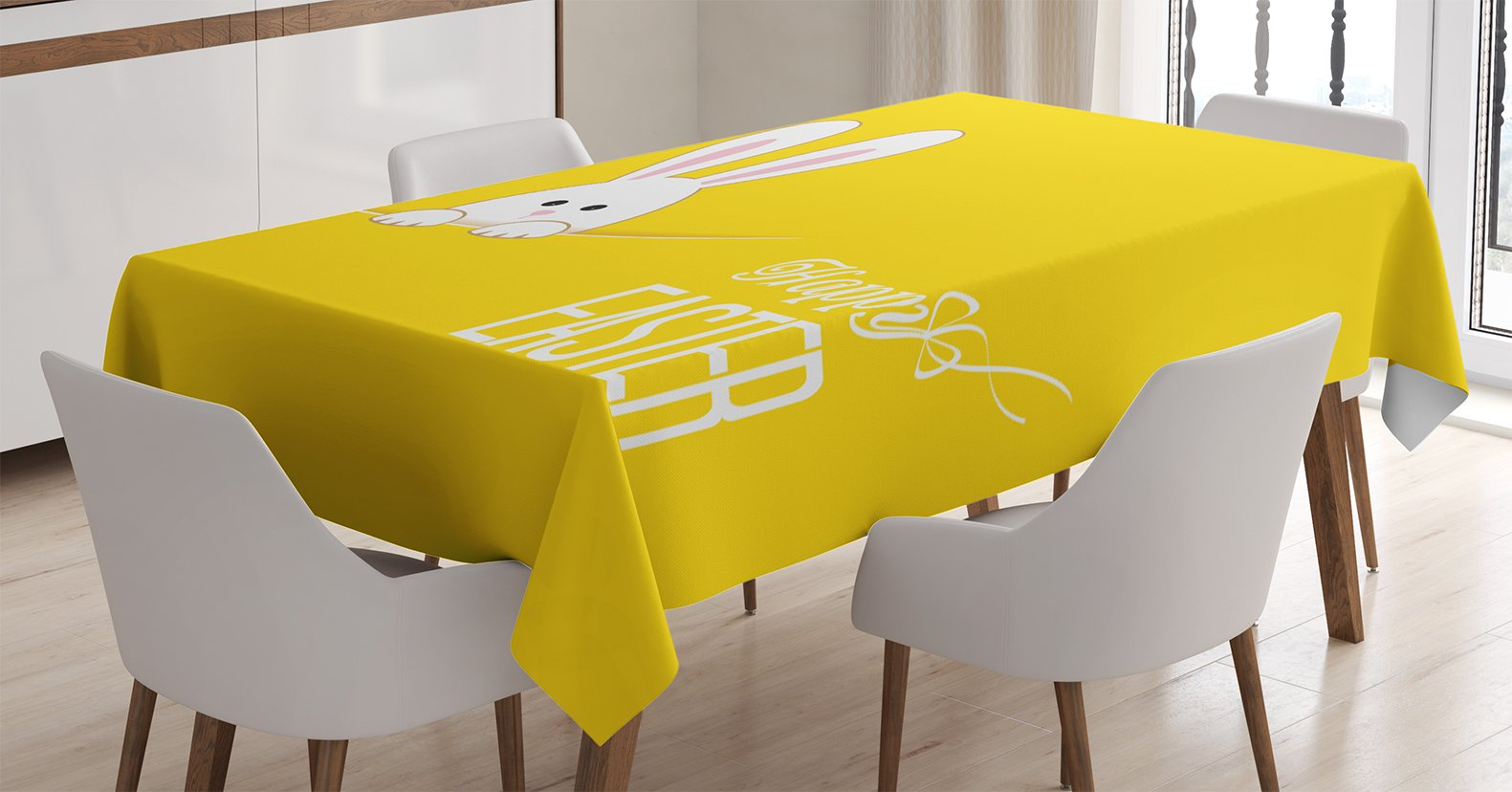 Ambesonne Yellow Decor Tablecloth, Easter Bunny Rabbit Animal Cartoon Springtime Cheerful Fun Celebration Artwork Print, Dining Room Kitchen Rectangular Table Cover, 52 X 70 inches by Ambesonne