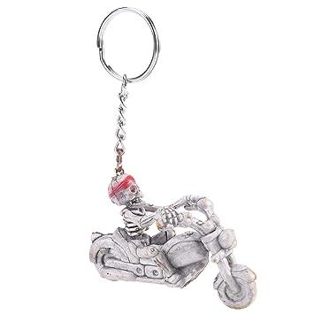 BESTOYARD Halloween Motocicleta Skull Skeleton Keychain Keys ...