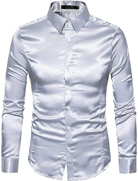 YFSLC-Studio Camisa De Manga Larga Hombre,Color Plata Elegante Sencillez De Hombres De Satén De Seda De Manga Larga Camiseta Slim Fit Rizó Vintage Boda Vestido De Esmoquin Camisetas: Amazon.es: Deportes y aire