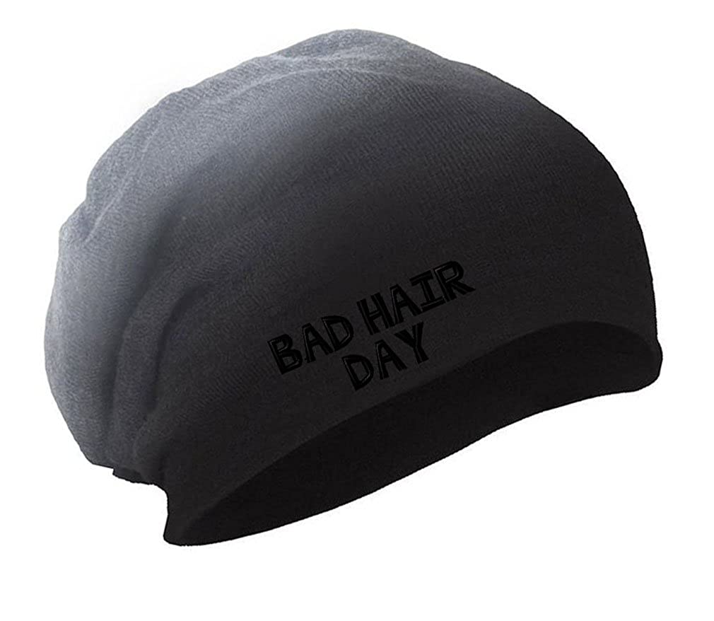 Bad Hair Day Black Embroidery Embroidered Slouch Long Beanie Skully Hat Cap BNSLCEM0255_BG