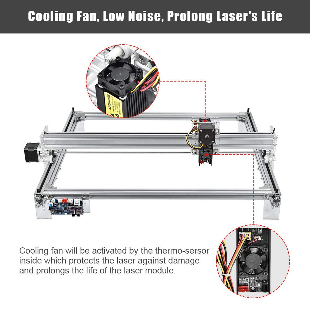 Contour Carving and Image Engraving Uttiny CNC Engraving Kits 2 Axis GRBL 60x50cm 10W Milling CNC Router Used As Wood Carving Machine for Pixel Text Scanning Carving