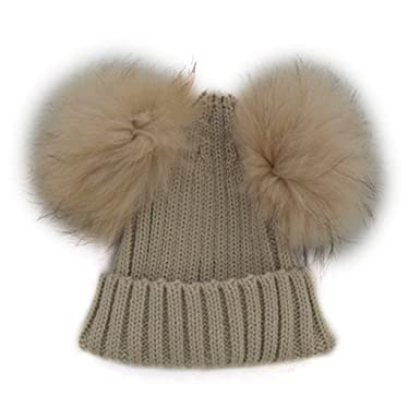 Funoc Beanie Hat Faux Fur Pom Poms Warm Winter Hat Knit Hat for Baby Kids  Girls 1a017aa5d36
