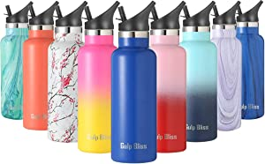 Gold Armour GulpBliss Double Wall Vacuum Insulated Stainless Steel Leak Proof Sports Water Bottle, Narrow Mouth with BPA Free Slip Free (Blue, 16oz)