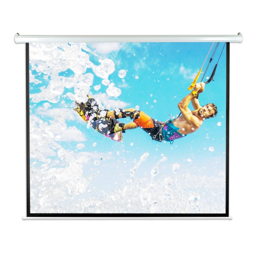 Pyle 84 Portable Motorized Matte White Projector Screen - Automatic Projection Display with Wall/Ceiling Mount, Remote and Case - for Home Movie Theater, Slide/Video Showing - PRJELMT86 Sound Around
