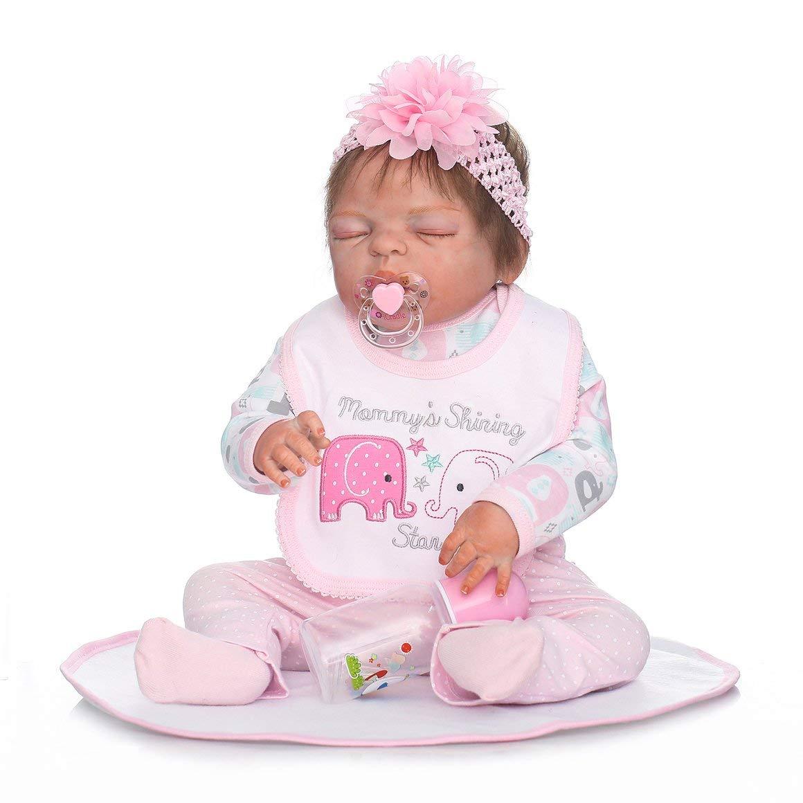 Funnyrunstore 22 Pulgadas Niños Reborn Baby Doll Silicona y Tela Tela Realista Dormir Newborn Doll Girl Touch Suave Mejor Regalo de cumpleaños (Rosa)