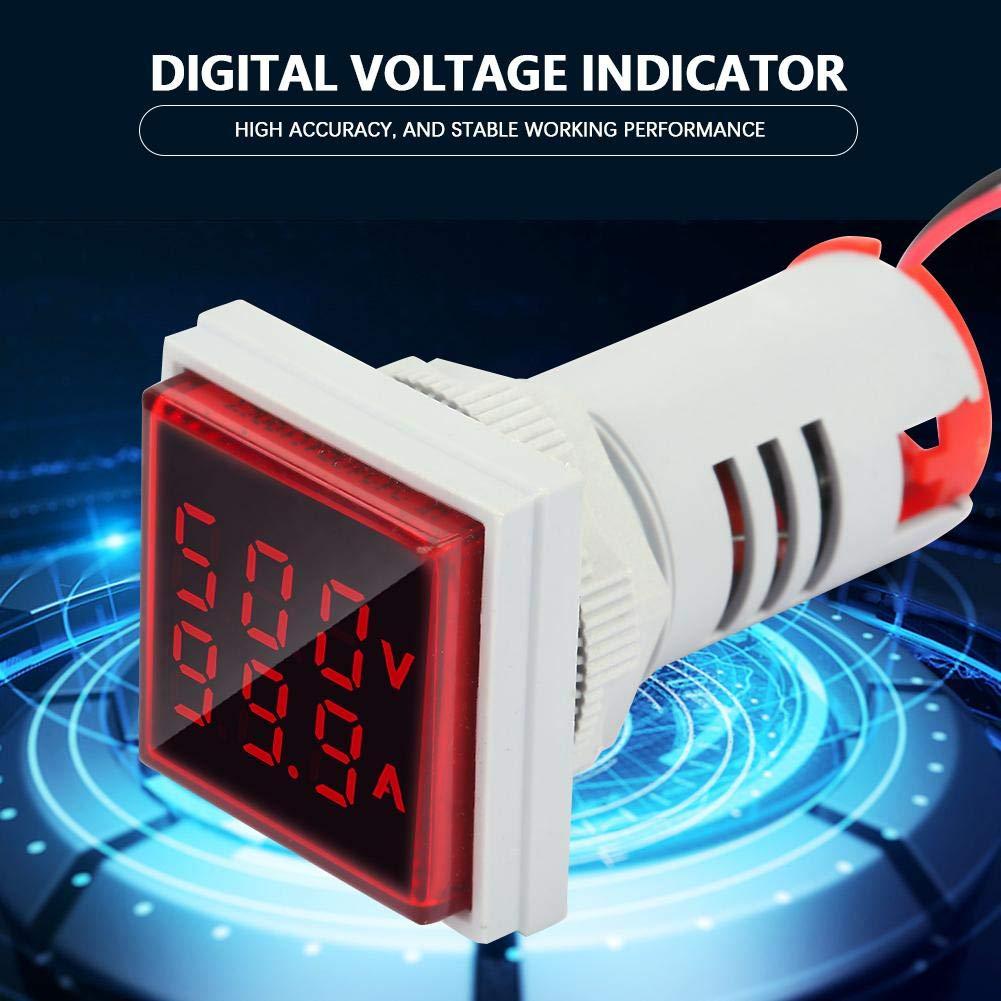 LED Indicator Light AC Voltage Signal Light Panel Digital Display Indicator Light 22mm 0-100A Current Indicator Green Red Yellow Blue Indicator Lights Flush Panel Mount White