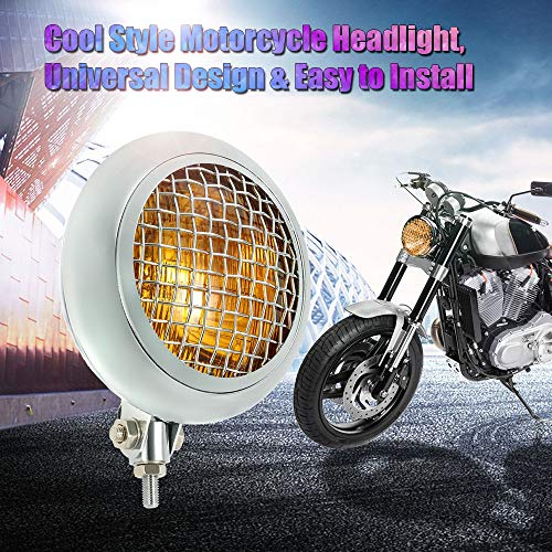 Victoria-ACX - Universal 6.7 Inch Motorcycle Headlight Silver Chrome Grill with Clear Lens for Harley Cafe Racer