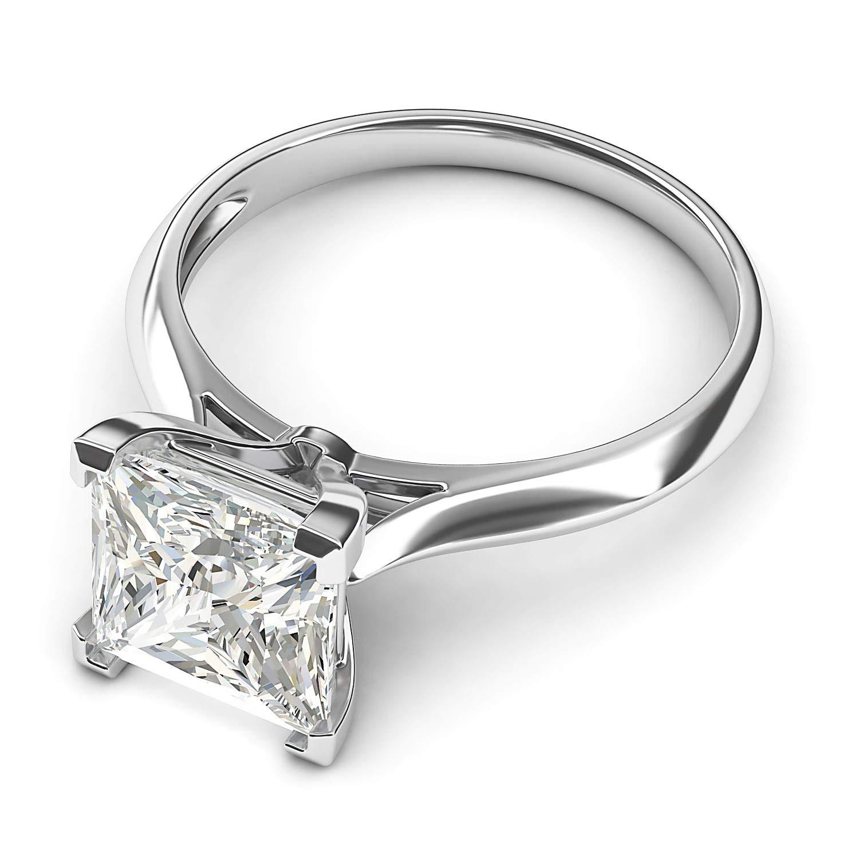 14k White Gold Square 8mm Simulated Princess Cut Diamond Engagement Ring Knife Edge Promise Bridal Ring (8.5) by THELANDA (Image #3)