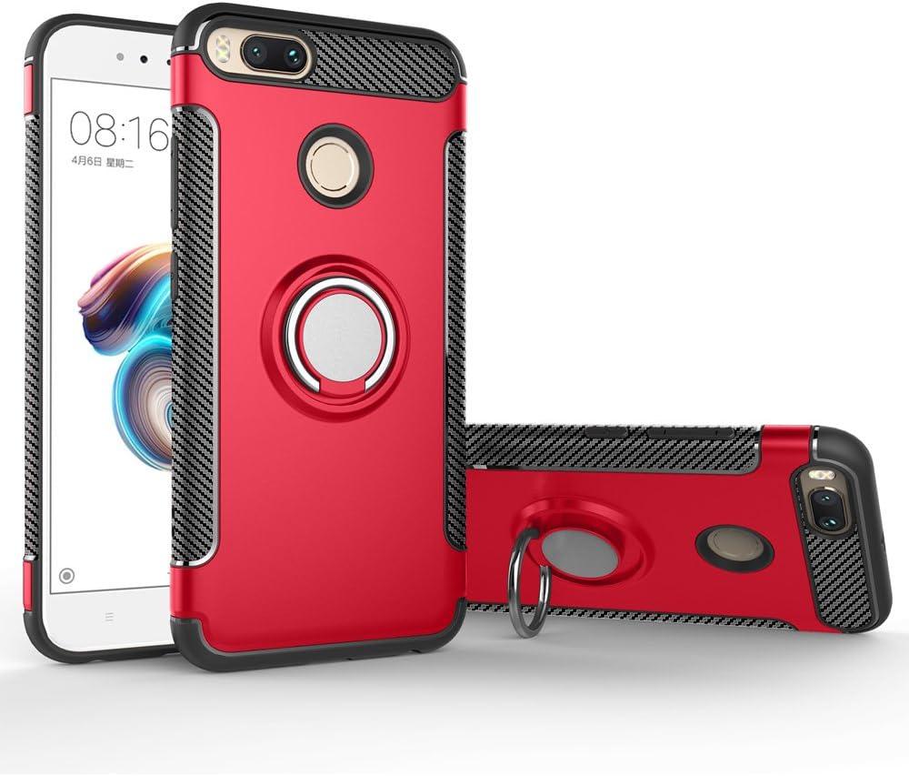 BLUGUL Funda Xiaomi Mi A1 /Funda Xiaomi Mi 5X, Soporte Giratorio del Anillo de 360 Grados, Compatible con Soporte Coche Magnético, Case Cover para Xiaomi A1/5X Rojo
