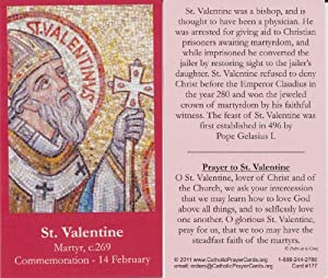saint valentine holy prayer card wallet size free cross bookmark with order - Saint Valentine Prayer
