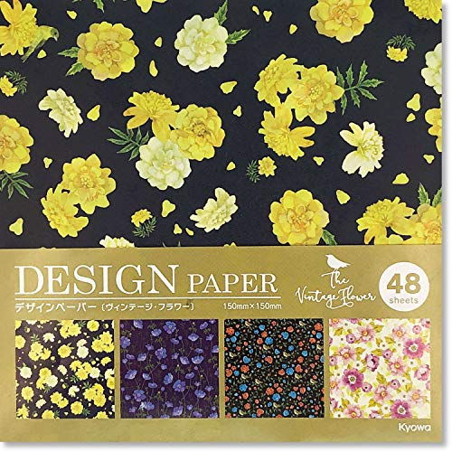 (Beautiful Japanese Origami Paper (a.k.a. Chiyogami), Each Contains Four Different Designs, Made in Japan, Vintage Flower Pattern, 48sheets )