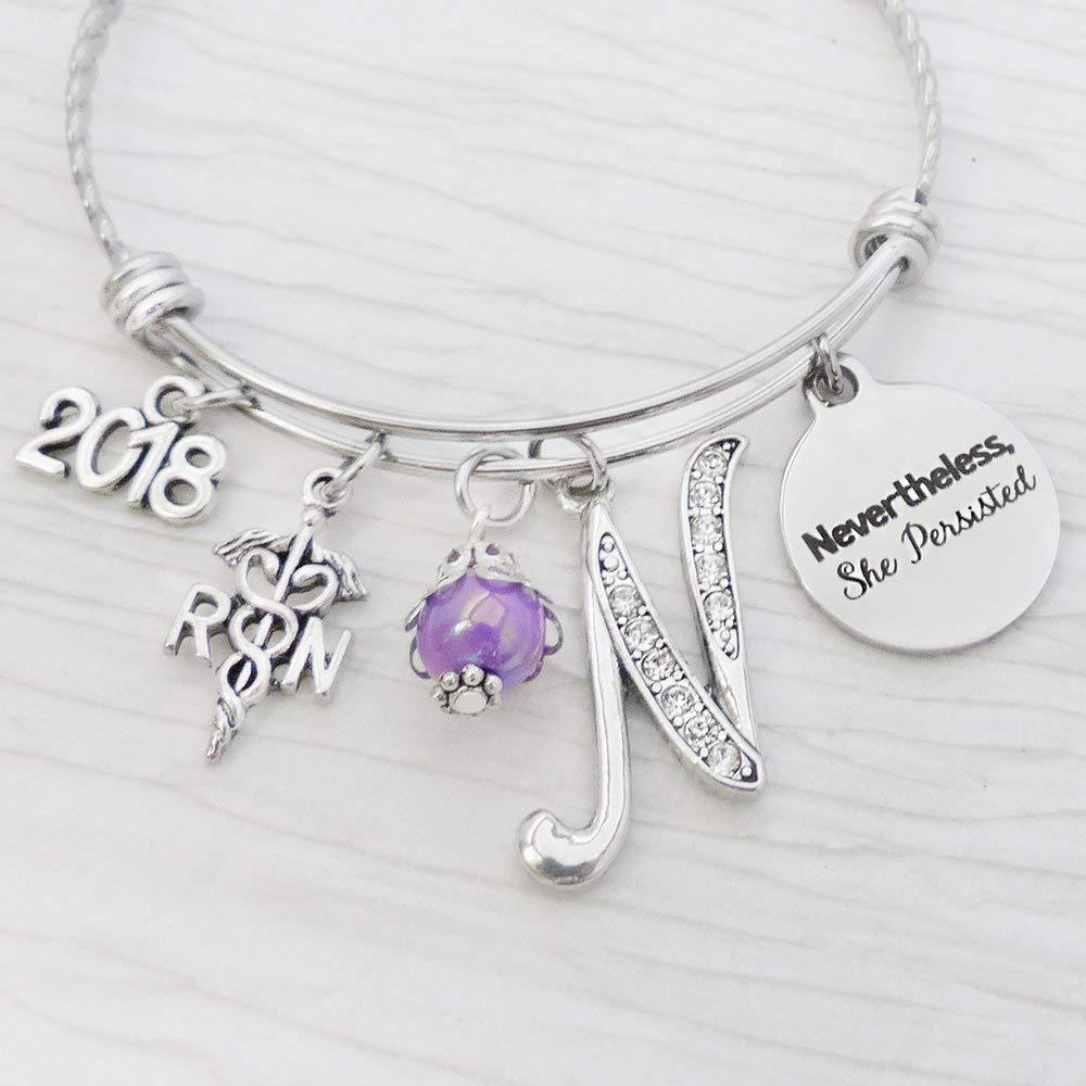 Nevertheless She Persisted Bracelet Nurse Graduation Gift RN Graduate Jewelry Personalized Bangle Bracelet for Nursing Grad RN medical Symbol Charm ...  sc 1 st  Amazon.com & Amazon.com: Nevertheless She Persisted Bracelet Nurse Graduation ...