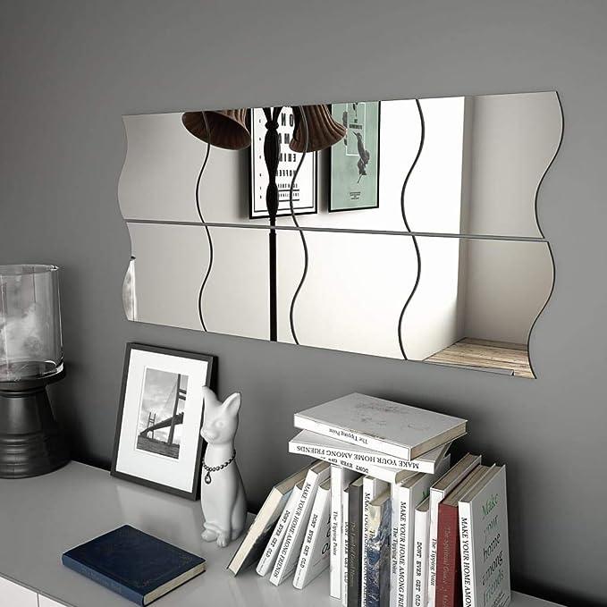 Festnight Wandspiegelset 8 STK. | Wellenförmig Glas Wandspiegel | Badspiegel mit Wandaufkleber | Wellenform Spiegel Set | 20x