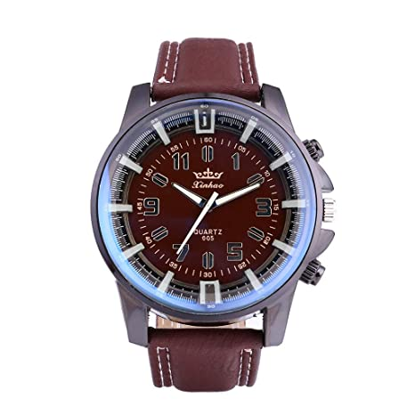 Amazon.com : XBKPLO Mens Quartz Watch, Retro Sport Luxury Analog Mechanical Wrist Watch Large Dial Watches Leather Strap Fashion Business Jewelry Gift : Pet ...