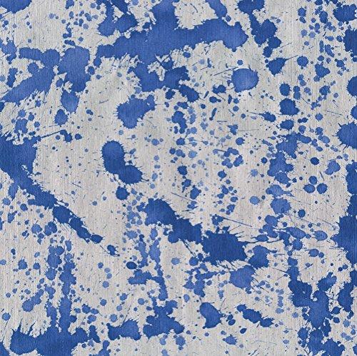- Caspari - Christmas Gift Holiday Wrapping Paper, Splatterware Blue on Silver Foil, 8-Feet, 1-Roll