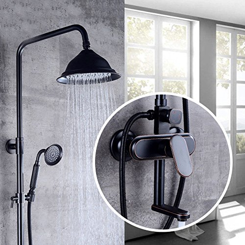 F Hlluya Professional Sink Mixer Tap Kitchen Faucet Retro black full copper shower set and cold water shower faucet,C