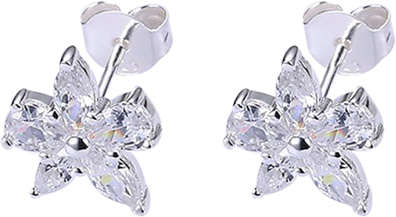 AieniD Blanco Pendientes para Mujeres Circón Piedra preciosa Patrón de Flor de Cristal