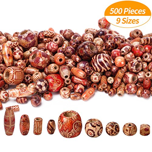 Senkary 500 Pieces Printed Wooden Beads Mixed Round Loose Wood Beads Bulk for Jewelry Making Bracelet Necklaces DIY Hair Crafts, Assorted Patterns and Sizes (Brown Wood Bead)