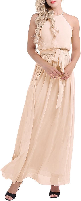 iiniim Women Elegant Chiffon Halter Neck Bridesmaid Evening Party Long Formal Dress with Tied Sash