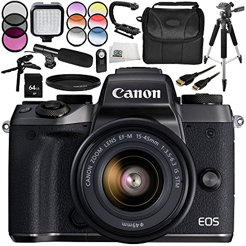 Canon EOS M5 Mirrorless Digital Camera 15PC Bundle – Includes Canon EF-M 15-45mm f/3.5-6.3 is STM Lens, LED Video Light, Carrying Case, More – International Version (No Warranty)