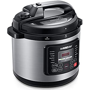 GoWISE USA 12-in-1 Electric Pressure Cooker + 50 Recipes for your Pressure Cooker Book with Measuring Cup, Stainless Steel Rack and Basket, Spoon (6-QT, Stainless Steel)