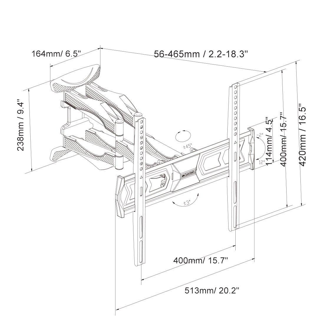 Fleximounts Arm 32-60 inch TV LCD Monitor Wall Mount, Full Motion Tilt Swivel Flat Panel Screen with VESA 400x400mm