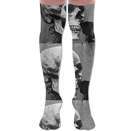 c164918495ac Image Unavailable. Image not available for. Color: Black Skeleton Wither Rose  Women's Fashion Over The Knee High Socks ...