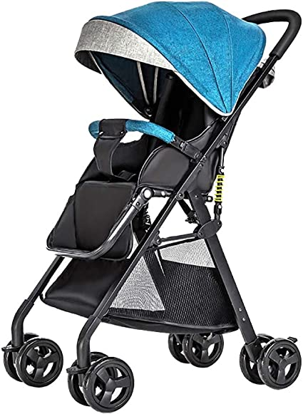 Festnight Baby Stroller High View Pram One Step Fold Lightweight Convertible Baby Carriage with Multi-Positon Reclining Seat Extended Canopy for Infant Toddler