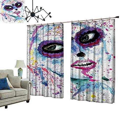(PRUNUS Fashion Window Curtain with Hook Halloween Lady with Sugar Skull Make Up Creepy Dead Face Gothic Woman Radiation Protection,W72)