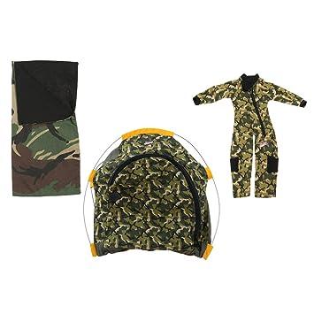 Baoblaze Juegos de Tienda Campaña Mini Saco de Dormir con Traje de Soldado para Muñecas Escala