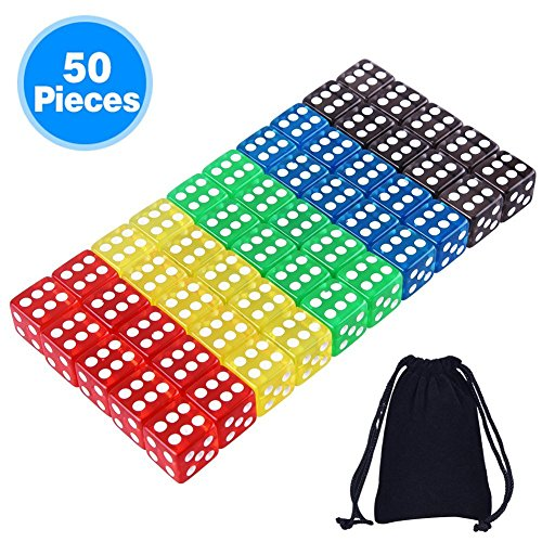 AUSTOR 50 Pieces Game Dice Set 5 Translucent Colors Square Corner Dice with a Free Pouch]()