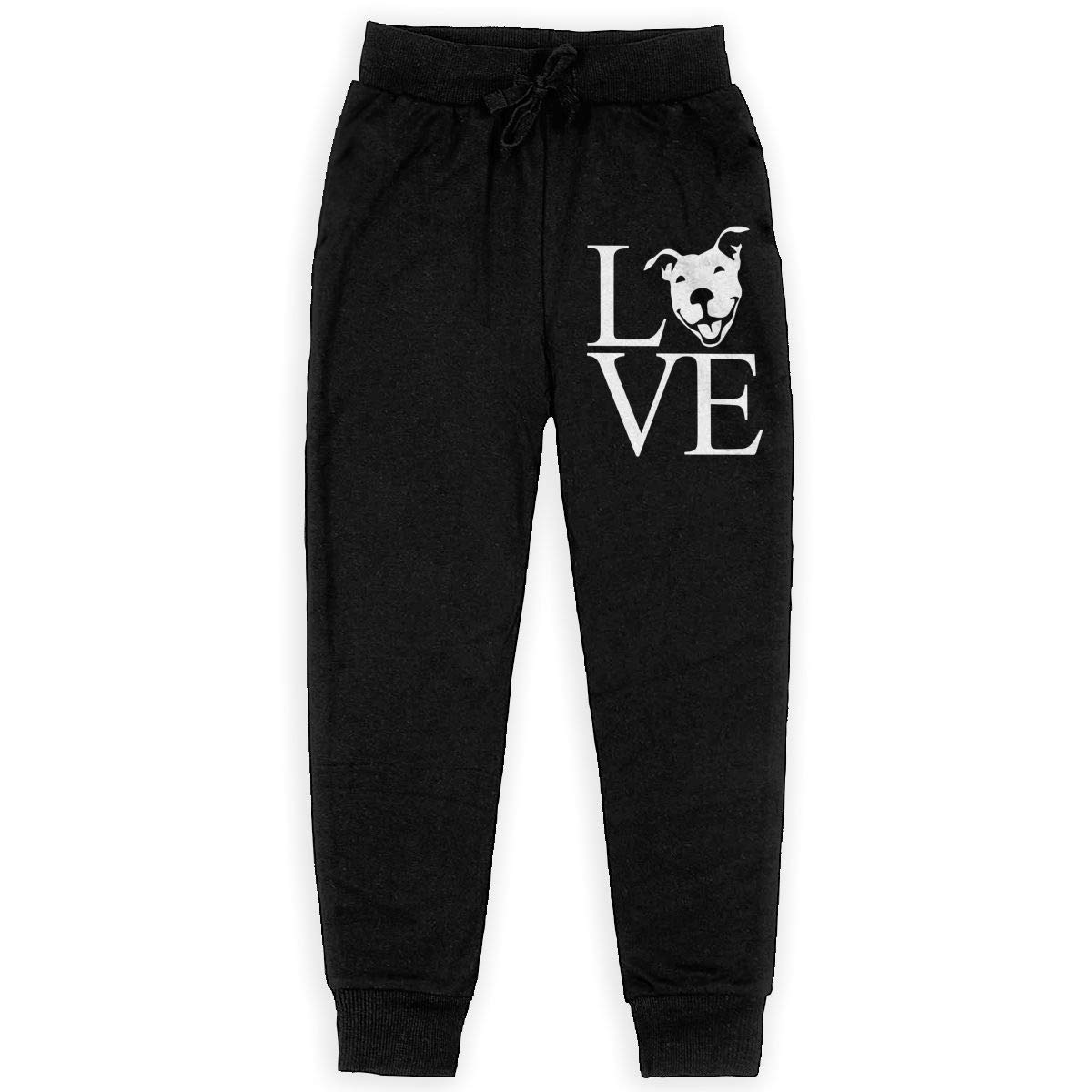 Love Pit Bull Soft//Cozy Sweatpants Youth Active Basic Jogger Fleece Pants for Teenager Boys
