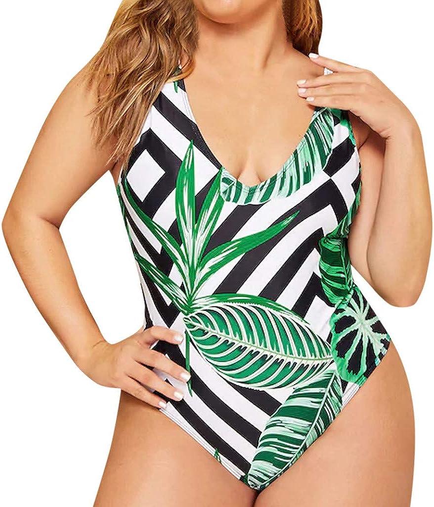 Women Two Piece Swimwear Plus Size Backless Tummy Control Leaf Print Push Up Tankini Sets Beachwear Swimsuit