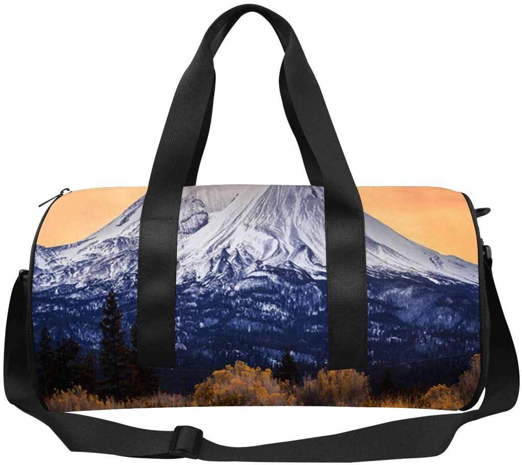 INTERESTPRINT Dawn on Mount Shasta Travel Duffel Bag with Pocket