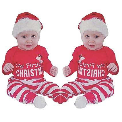 sexyp 2pcs navidad recién nacido bebé niñas niños trajes ropa ciervo Pelele + pantalones Set