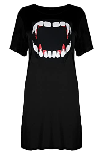 BE Jealous donna Halloween Bleeding vampiro denti Largo Tunica T-Shirt Lunga Top vestito UK più dime...