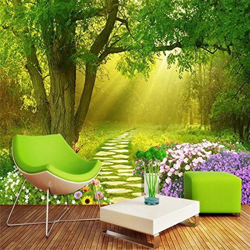 LHDLily 3D Wallpaper Mural Wall Sticker Thickening Custom Photo Walls Wall Stickers Flowers Butterfly Forest Fresh Tv Background Wall 400cmX300cm by LHDLily