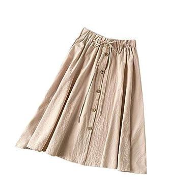 00ef20b4b2db2 LUBITY Femmes Solides Simple Boutonnage Taille Haute Jupe évasée ...