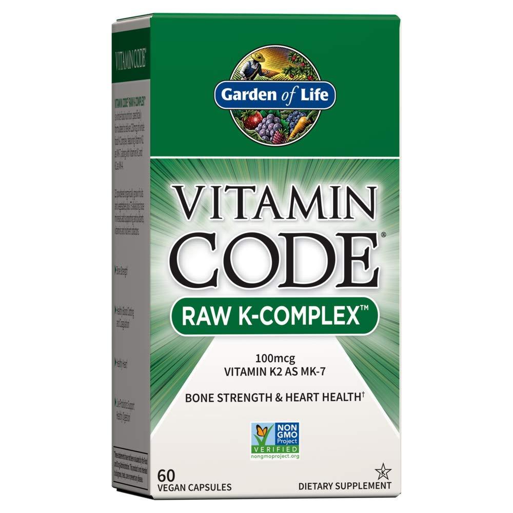 Garden of Life Vitamin K - Vitamin Code Raw K Complex Whole Food Vitamin Supplement, Vegan, 60 Capsules *Packaging May Vary*
