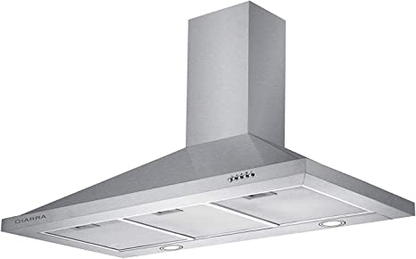 CIARRA Campana CBCS9301 extractora Cocina Pared Versión Mejorada 100W 90cm 550 m³/h Luz LED y 3 Velocidades Teclas Filtro de Grasa Acero, Inoxidable Color plata: Amazon.es: Grandes electrodomésticos