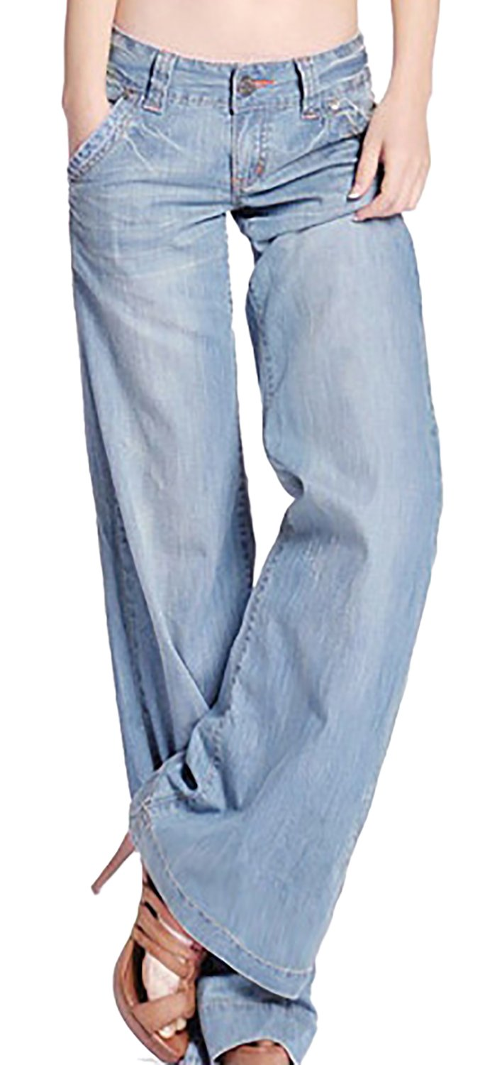 Women's Fashion Light Blue Loose Curvy Bootcut High Waist Straight Fit Jeans 12 by GARMOY (Image #1)