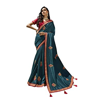 Saree for Women Bollywood Wedding Designer Pure Dollar Silk Sari with Unstitched Blouse.: Ropa y accesorios