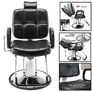 "Hydraulic Reclining Styling Barber Chair Salon Spa Tattoo Chair Beauty Equipment (18"", Black)"