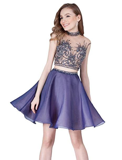 038688e906 Newdeve A line Two Piece Homecoming Dresses Women s Prom Gown Short ...