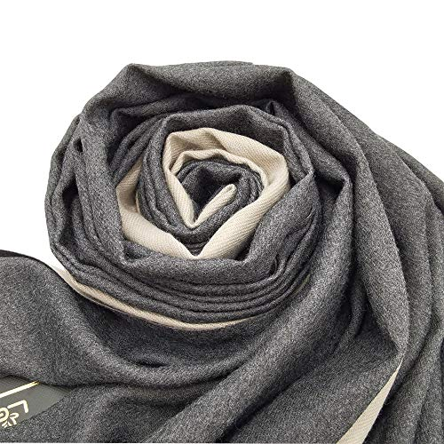 Ladies Wool Pashmina Winter Scarves Cashmere Scarf for Women Shawls Wraps (Double-face Grey, Large)